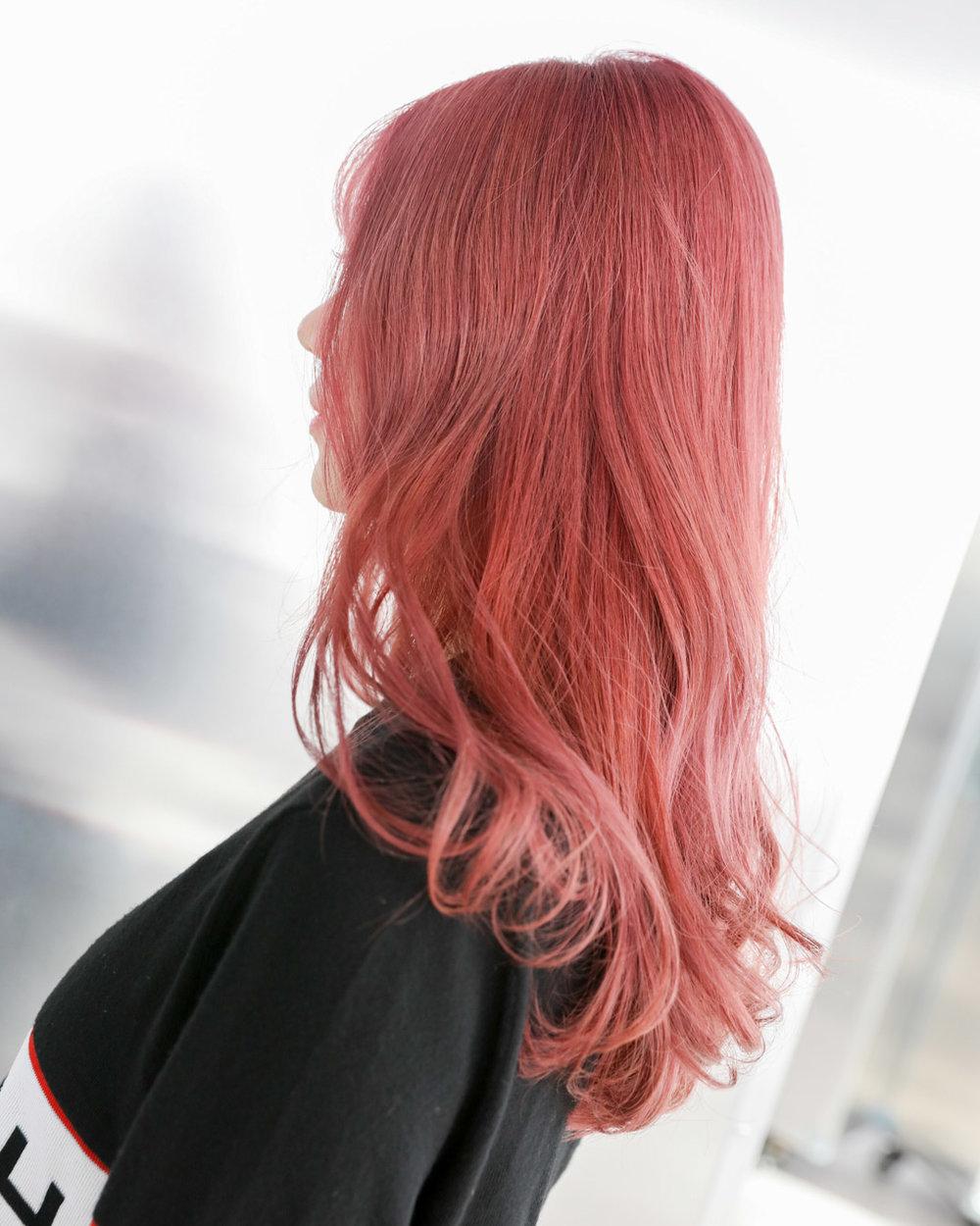 deep peach pink - MENUWhole-head bleach, Colour, Cut and stylePRICEapprox. $690(Whole-head bleach long $350, Second bleach $80, Colour long $190+, Cut from $70)TIMEapprox. 4.5-5 hours