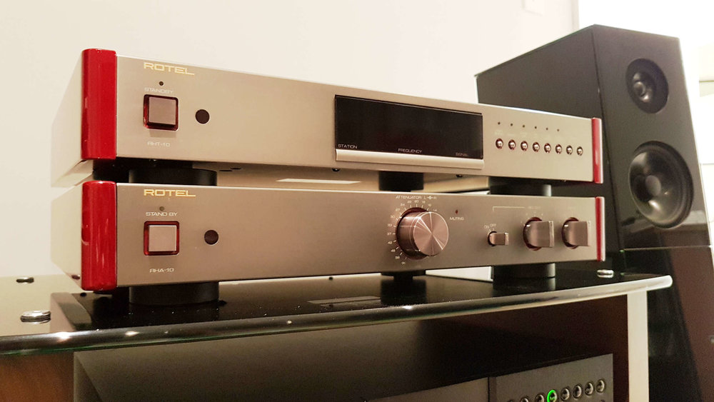 Rotel Michi RHT-10 Tuner $1,000 &RHA-10 Line Preamp $950 - SOLD - Tuner: titanium color anodized aluminum alloy casing, fiber-glass epoxy PCB, 1% accurate 6-ring resistors, copper shield HF section, toroidal transformer, and Black Gate electrolytic capacitors.Preamp: Class A, was part of Rotel's high end line.Both come with remote and manual, tuner has box. SOLD