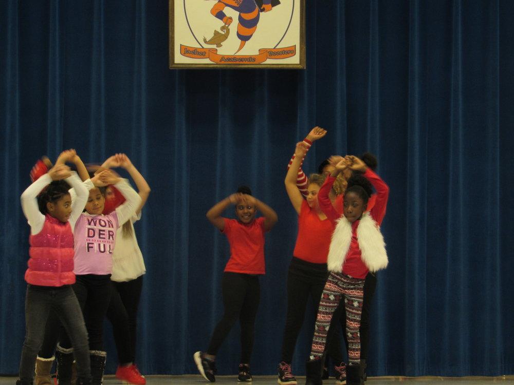 The dancing Divas making a presentation