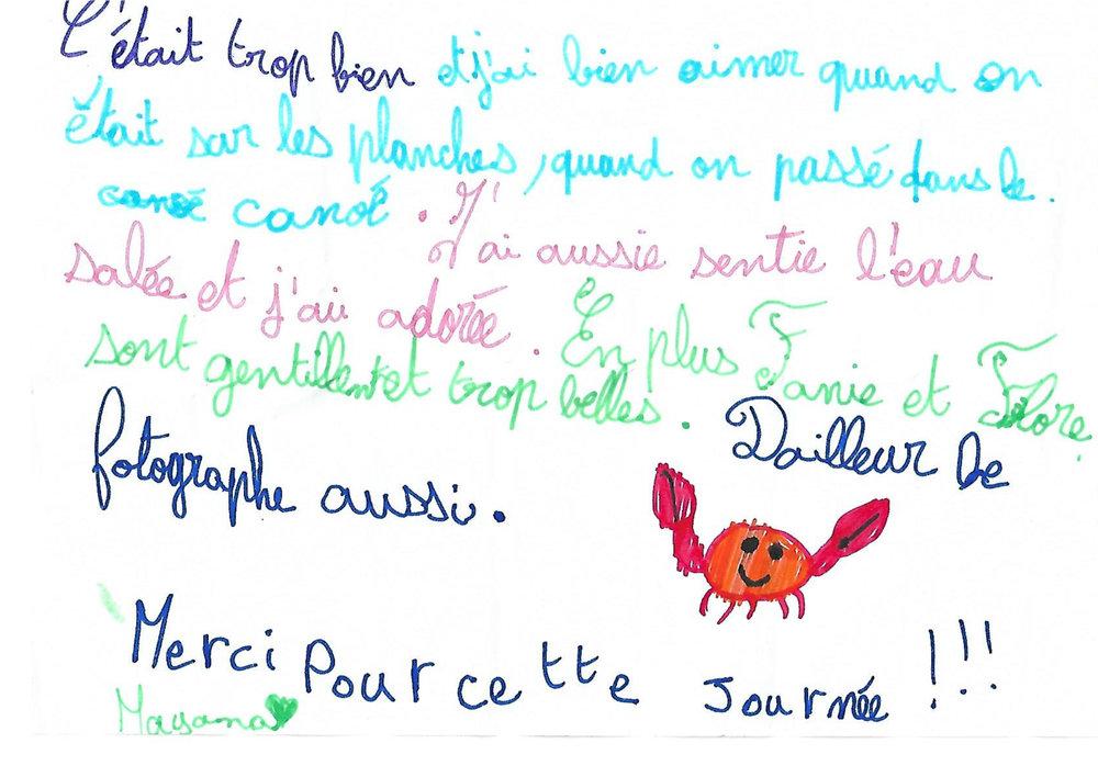 Au sortir du Parcours Sensoriel, un message d'une élève de CE2