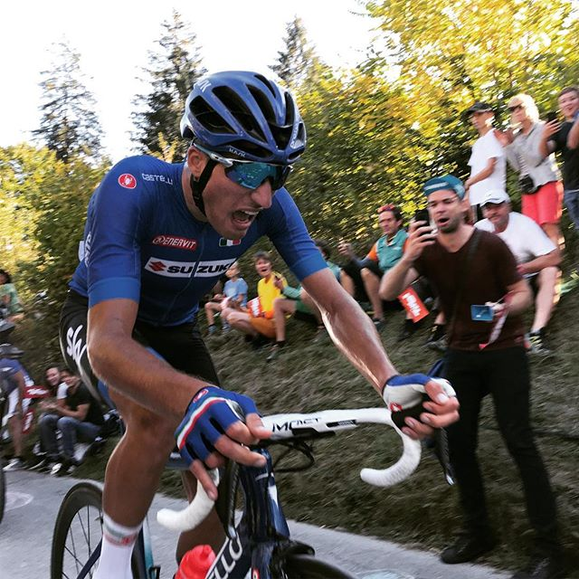 @giannimoscon gasping for air at the top of the Höll climb. Couldn't make it back to Valverde and the lead group but a fine effort @innsbruck_tirol2018 #cycling #uci #innsbruck