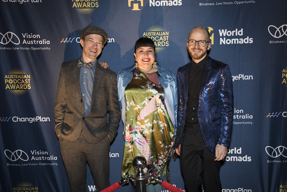 Members of Across the Aisle Ron Killeen, Carla Donnelly and Philip Thiel member of judging panel Claudia Taranto (2nd from left) at the 2018 Aus Pod Awards.