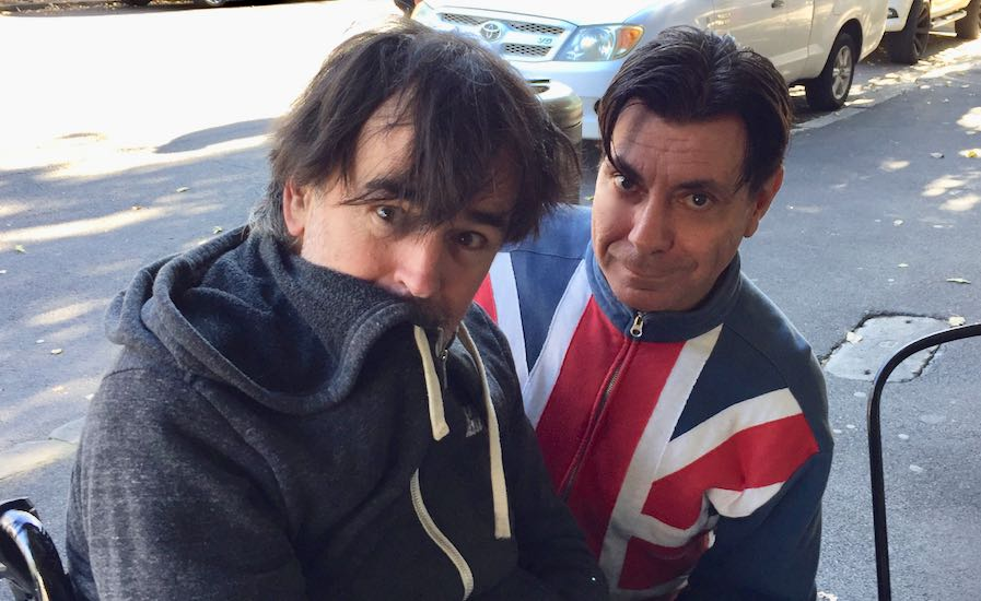 Tim Ferguson and Maynard at Sydney's Madame Frou Frou Cafe.