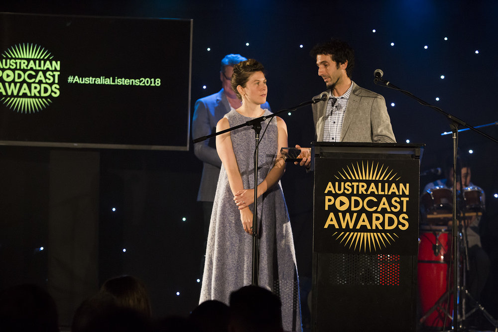 Annie Fredrickson and Mic Cavazzini accepting their award in Melbourne. Guests at the event will remember Annie's great speech, where she detailed the podcast of the taxi driver (Taxi Mark) who took them to the awards.