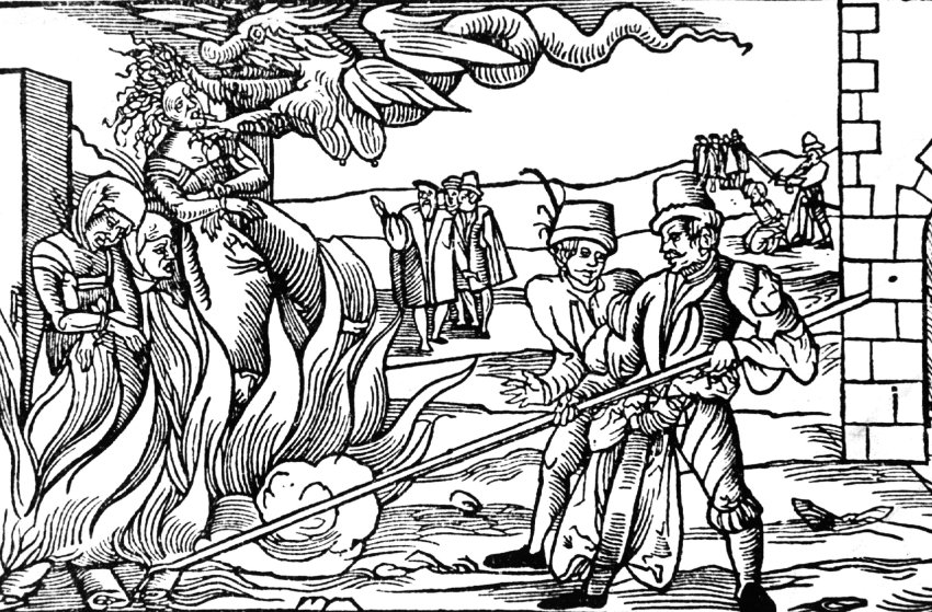 Woodcut of a Witch burning in Dernburg 1555 -  Source