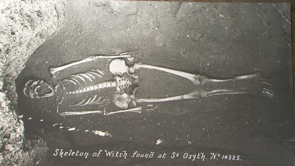 Skeleton of Witch found at St. Osyth - Source