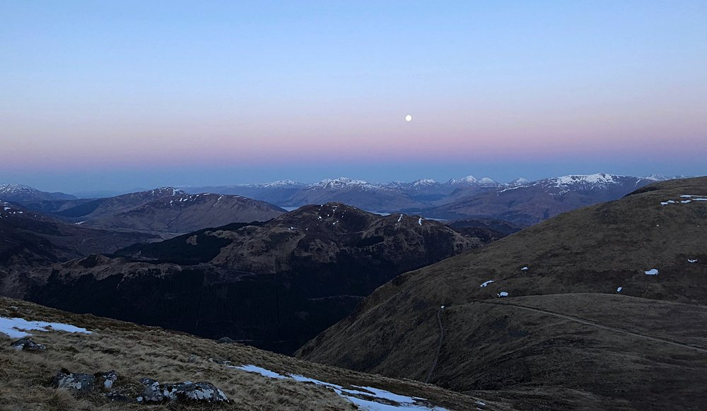 The moon setting on Ben Nevis