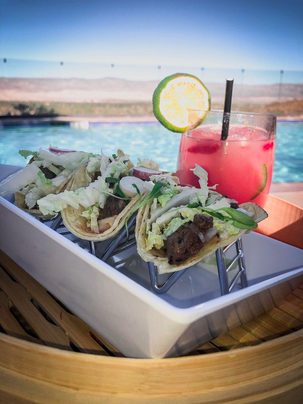 Poolside Carne Asada Tacos and Spicy Strawberry Margarita