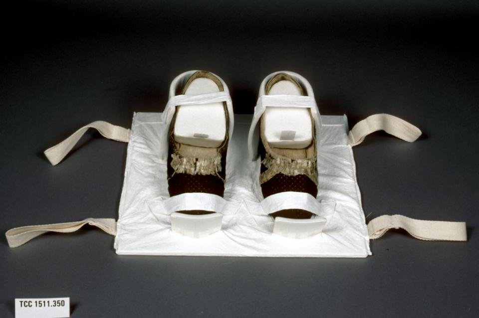 Shoes secured to a tray; handles assist in lifting loaded tray in and out of the storage box