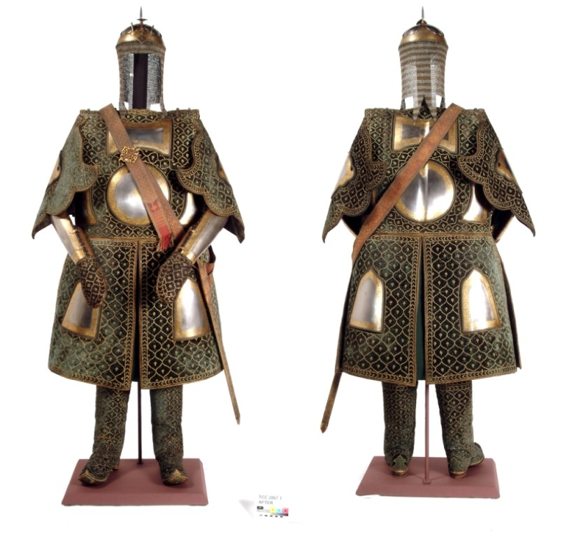 Warrior costume, front and back view; after treatment