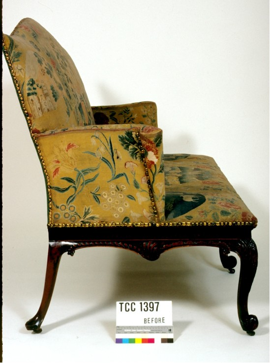 Side view of settee, before conservation