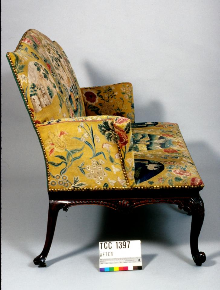 Side view of settee, after conservation