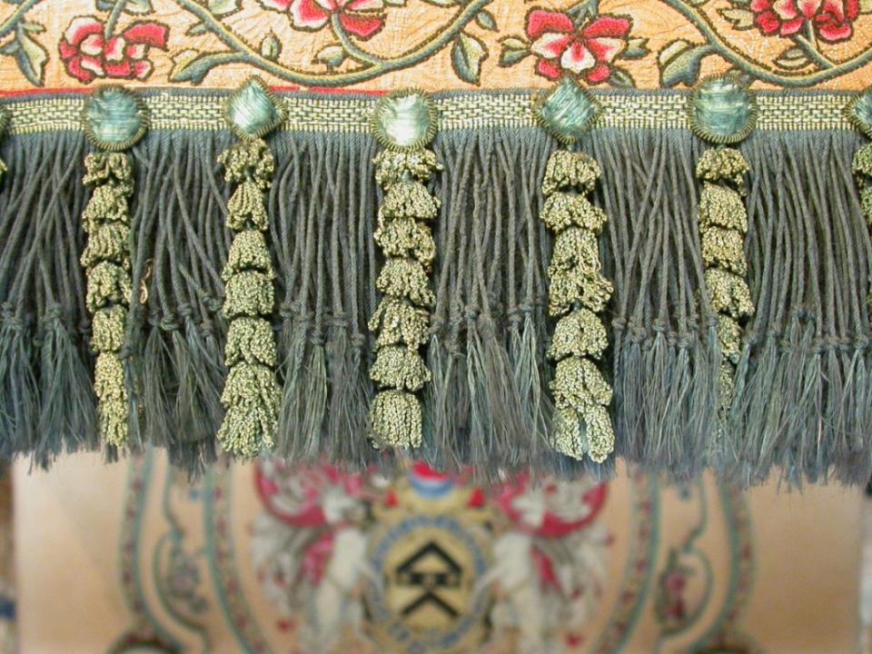 Upper valance; detail of the fringe and hangers following surface cleaning