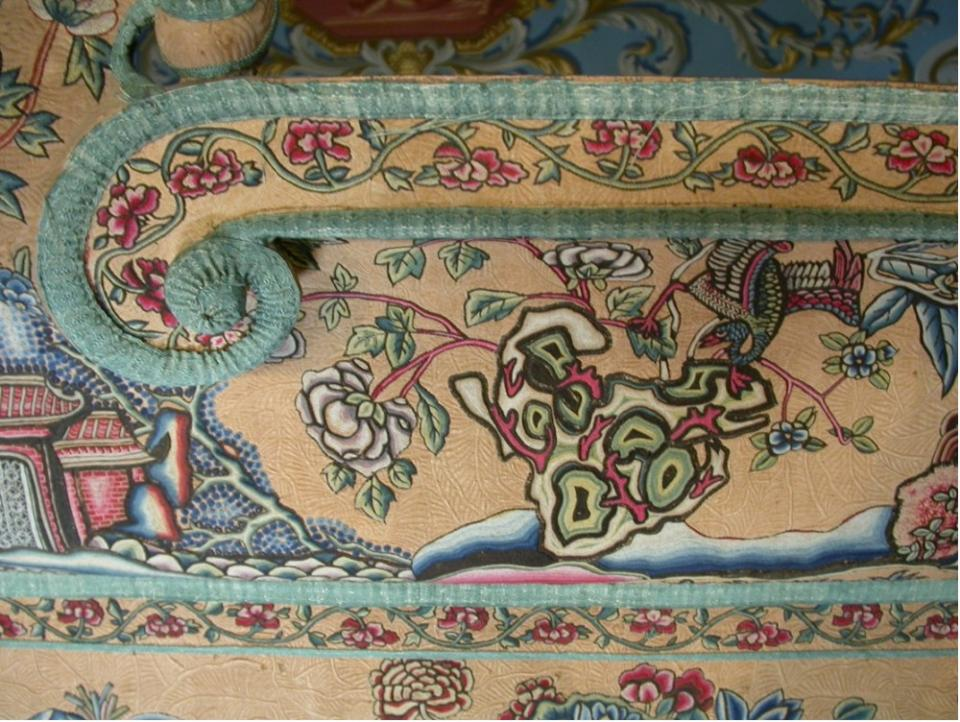 Upper valance; detail of embroidered Chinoiserie designs following surface cleaning