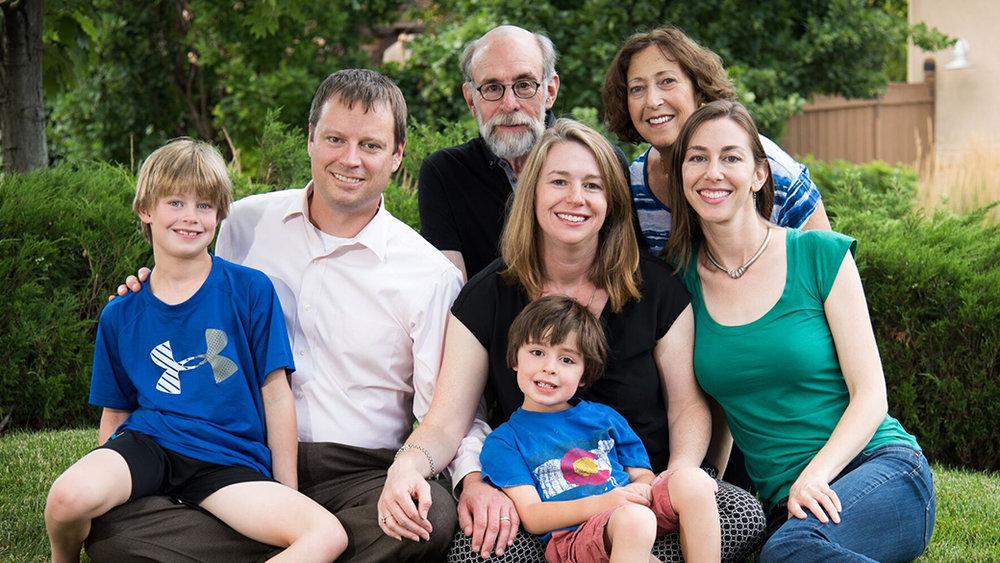 Back:Gary & Barbara Hoffman. Middle: Eric Myers, Nicole Hoffman Myers, and Marlow Hoffman. Front: Caleb & Hayden Myers.