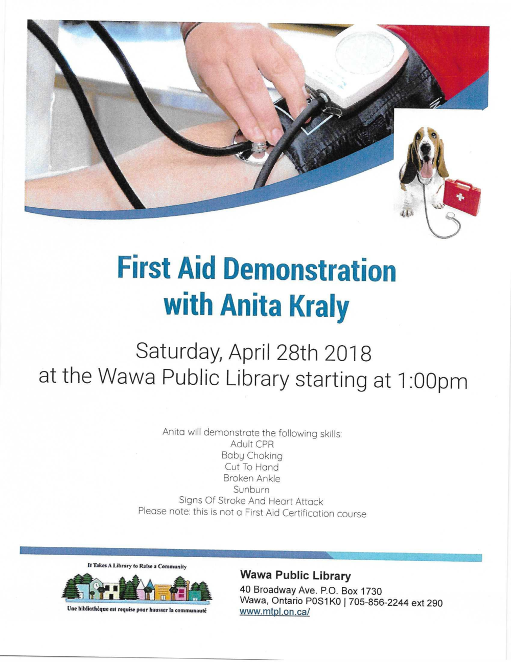 Wawa Public Library First Aid Demo — JJAM FM RADIO (CJWA)