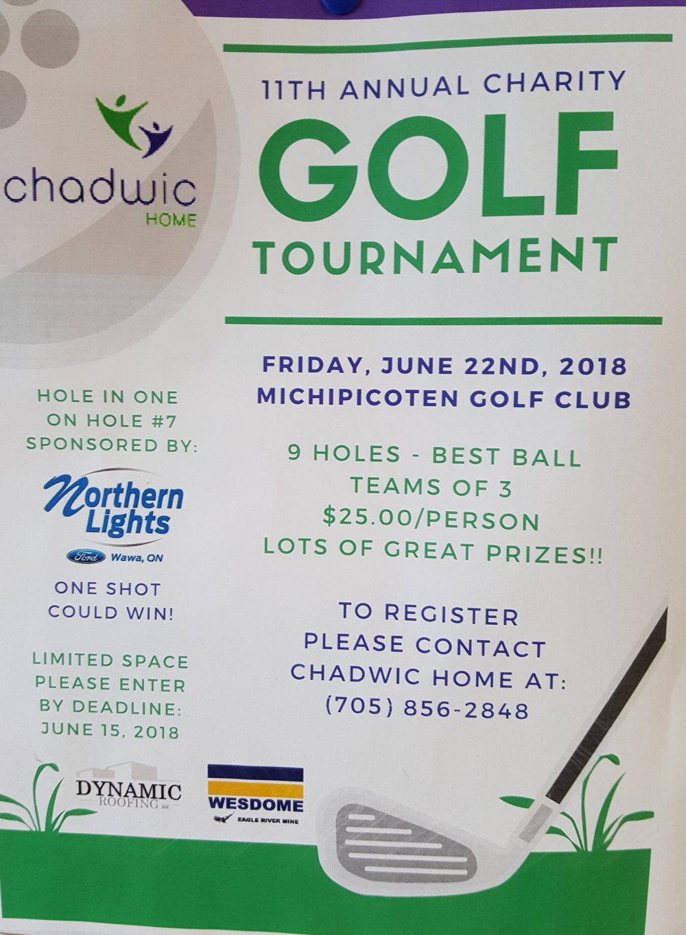WAWA-CHADWIC 11TH ANNUAL GOLF TOURNAMENT- DEADLINE TO ENTER IS JUNE ...