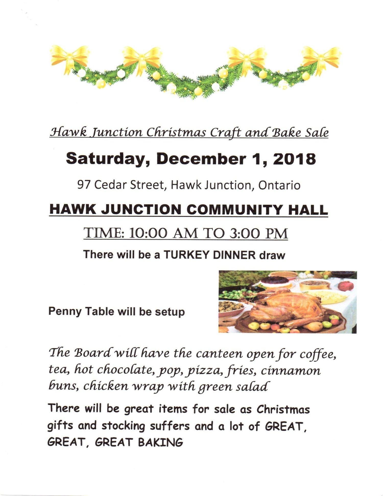 Hawk Junction Christmas Craft and Bake Sale — JJAM FM RADIO (CJWA)