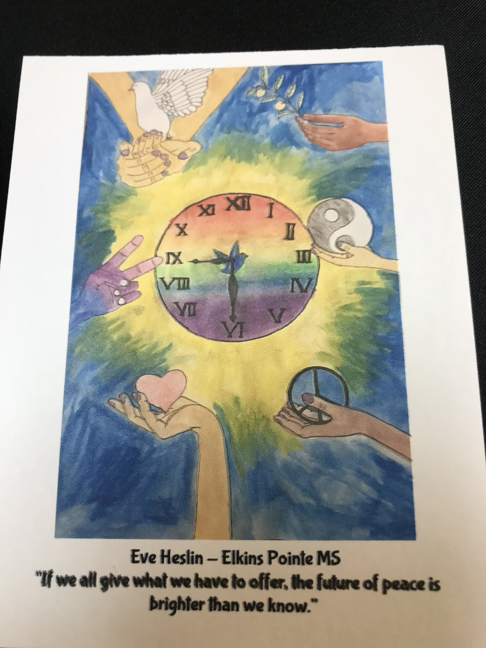 Eve Heslin - Elkins Pointe Middle School  2017 Peace Poster contest Roswell Lions Club