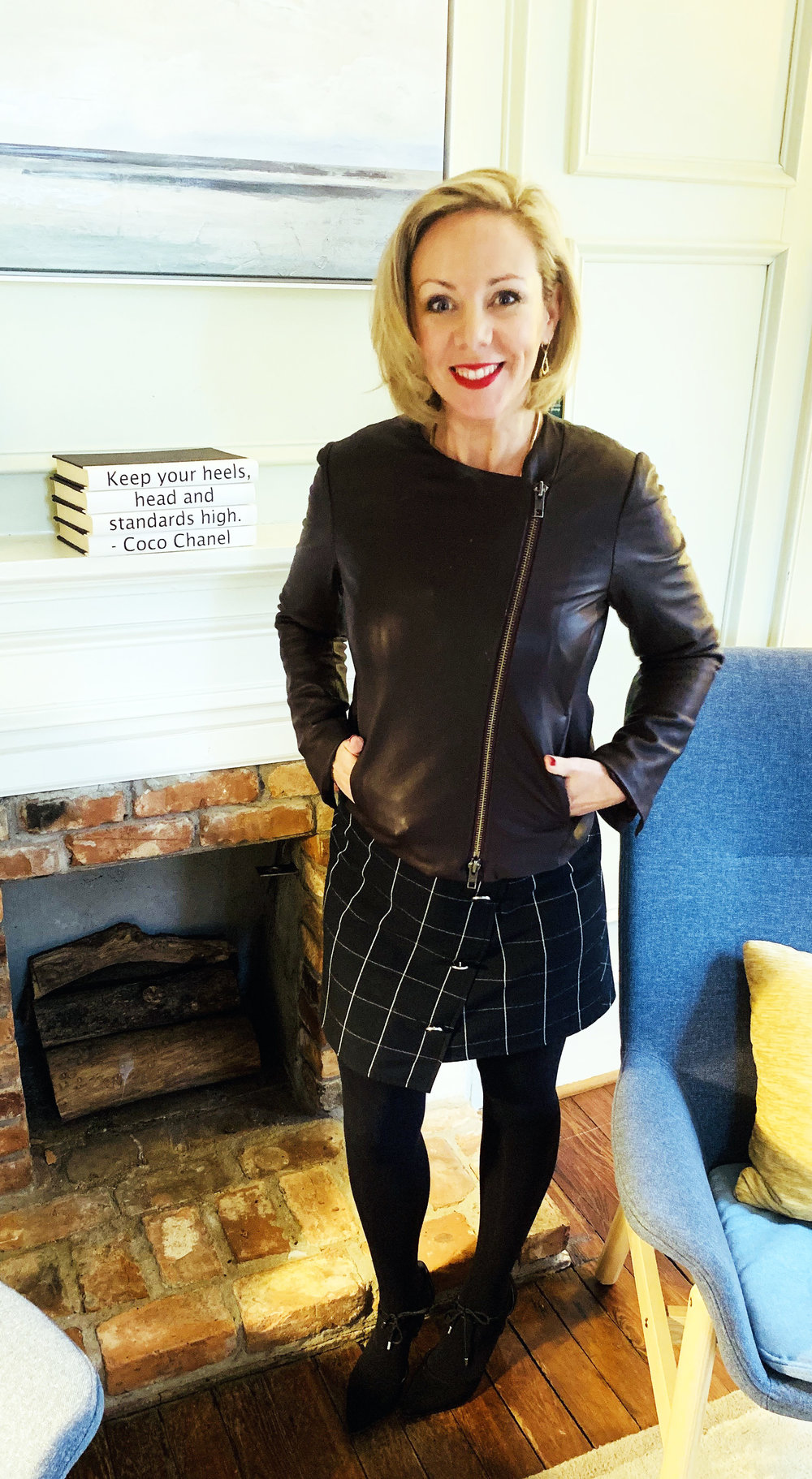 Theo Keyserling wearing a Shoshanna Window Pane Upton Dress and Vince Cross Front Leather Jacket