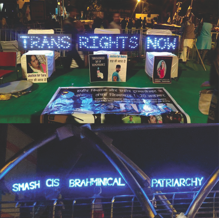 Light Signs   An image from our light signs campaigns for the 2017 Trans day of remembrance in New Delhi.