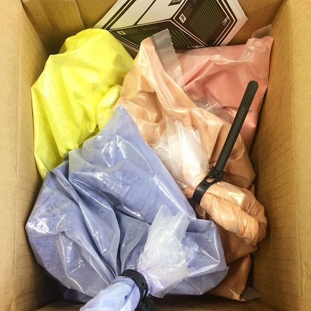 Hooray for new colours!! Thanks @prismaticpowders for such speedy delivery! . . . . . #powdercoating #contemporaryjewellery #vintagepurple #peachicecream #lemonpeel #prettypink