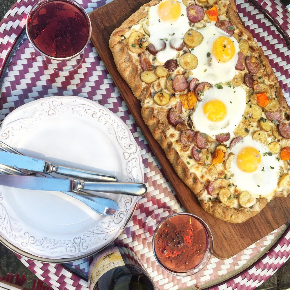 potato cream and farm egg brunch pizza for two