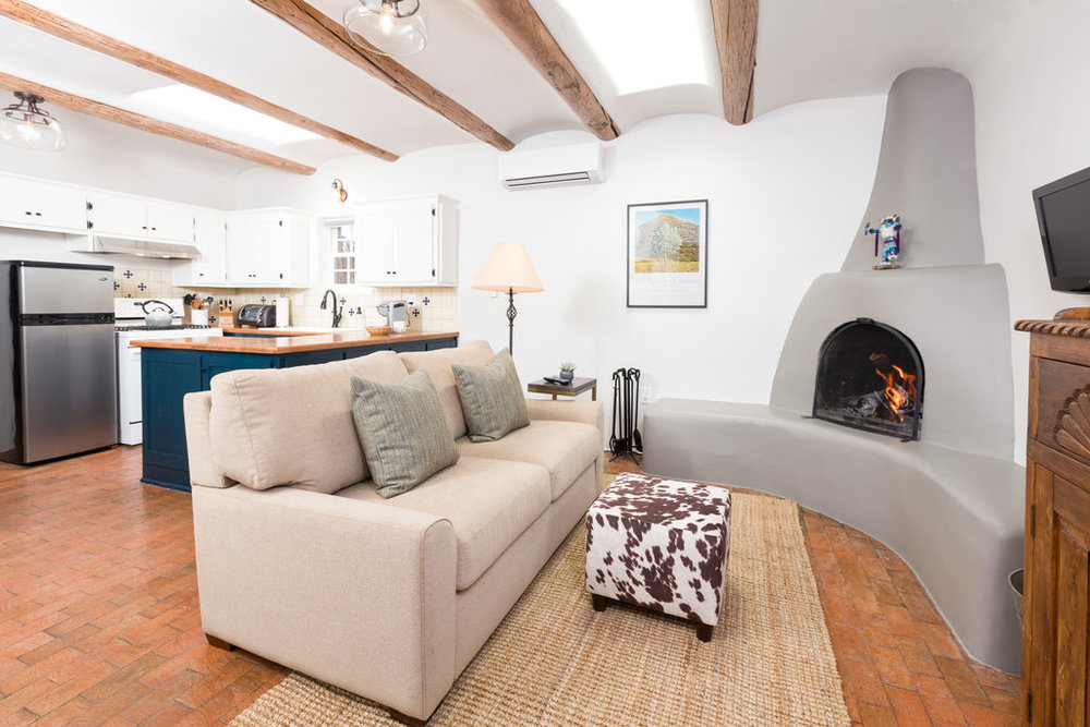 Open, Airy Living with Kiva Fireplace