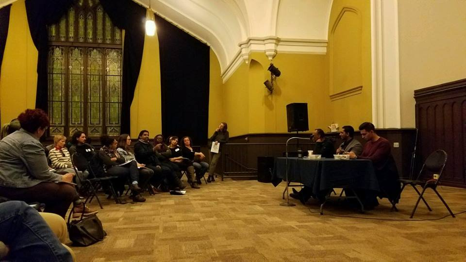 Islamic Center of Pittsburgh's Director and Community members sharing information and answering questions at the Union Project, 2017.