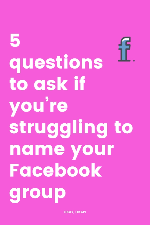 Naming stuff is hard. We put so much pressure on ourselves to come up with the perfect name for everything – our business, our Facebook group, our kids… If you're wondering what to name your Facebook group and struggling to land on a name you love, check out this post for five questions you can ask yourself for clarity on naming your new group. #socialmedia #copywriting