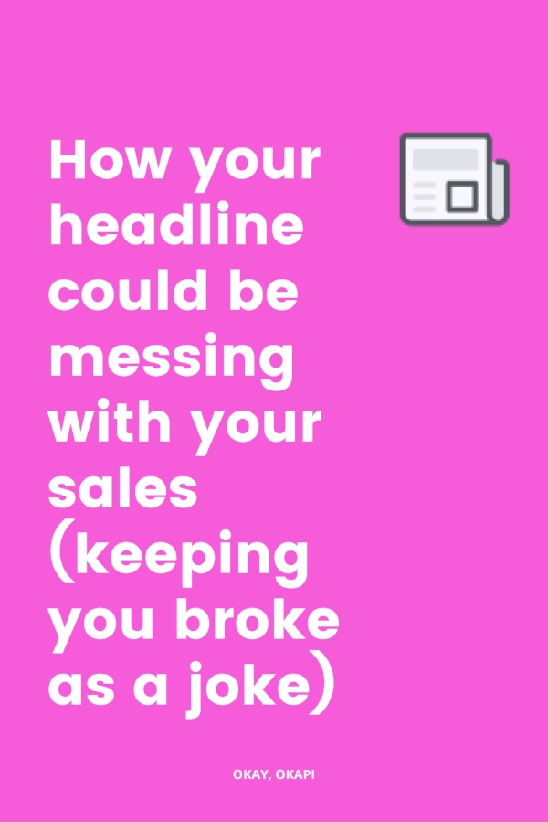 Writing a good headline can be the most challenging part of your sales page. Your headline is the first thing people see when they land on your sales page, so it's got a pretty important job. Sometimes, we forget that and think any ol' headline will do. But that's a mistake because your headline could be messing with your sales. Check out this blog post to learn more! #copywritingtips #salespage
