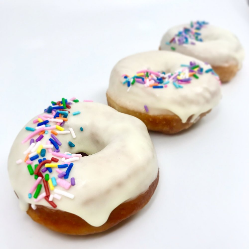 Buttermilk donuts with sprinkles