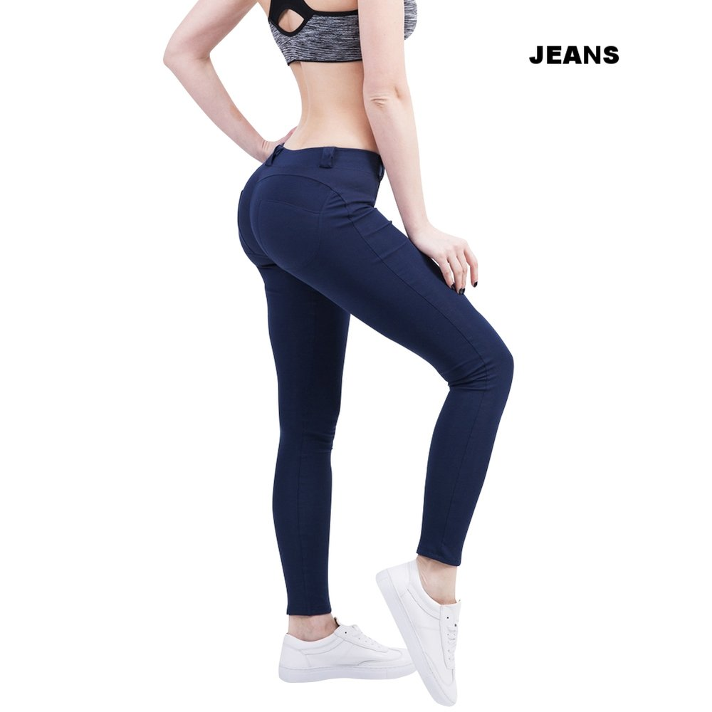 Dark Blue Low Waist Activewear Pants Ankle Length.jpg