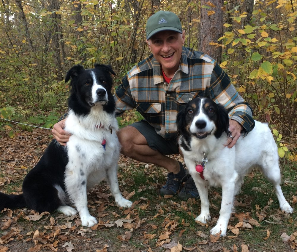 Dave with his pups, Fromm (l) and Molly (r)
