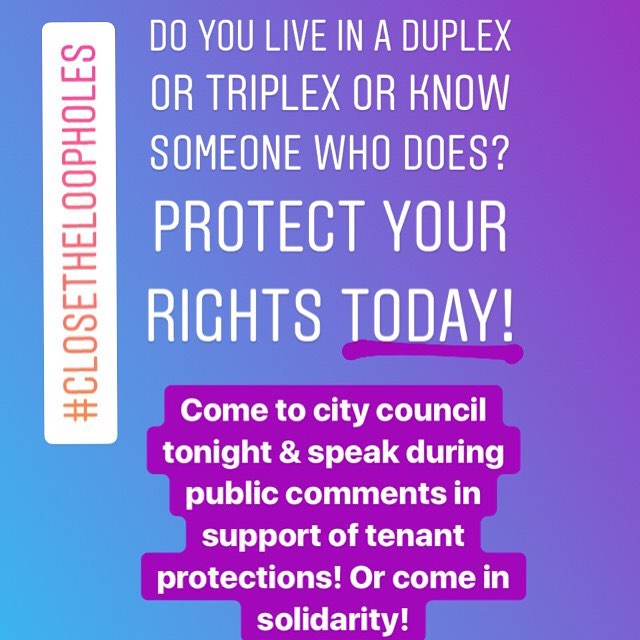 Oakland! Who wants to join us at City Council tonight at 530pm? Join Aunti Frances & other affected tenants & allies in pushing city council to close the harmful loopholes that are leading to unjust evictions! DM for deets! #ClosetheLoopholes #DefendAuntiFrances