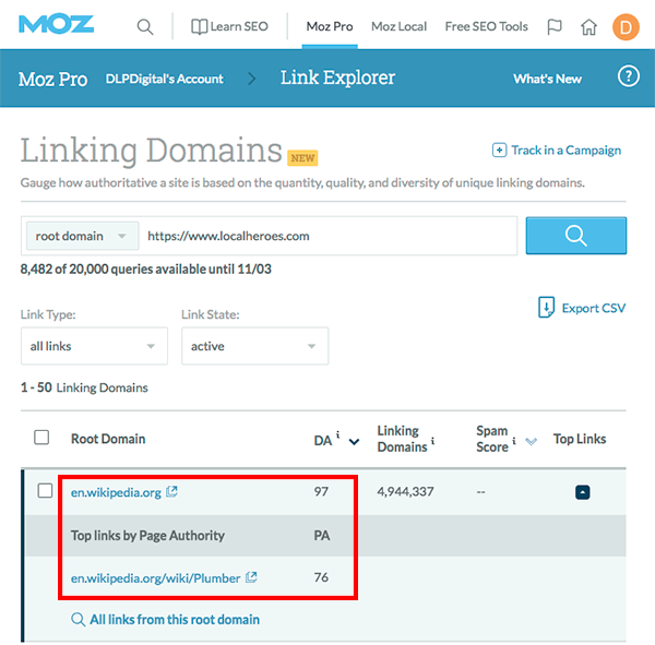 Image from Moz of Wikipedia backlinks to Local Heroes