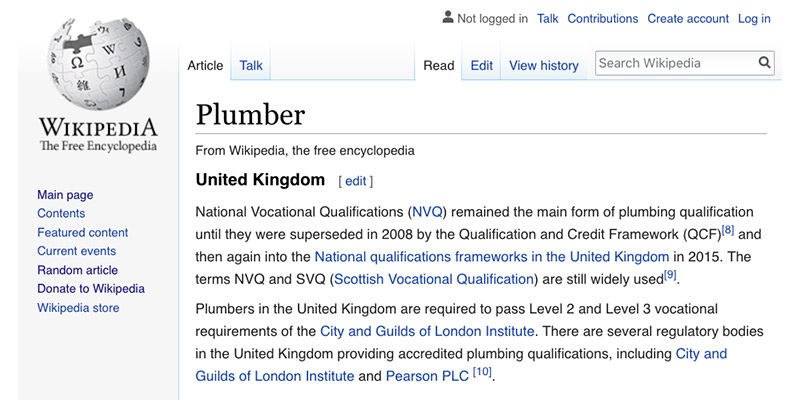 Image of the United Kingdom section for the Wikipedia article on Plumber