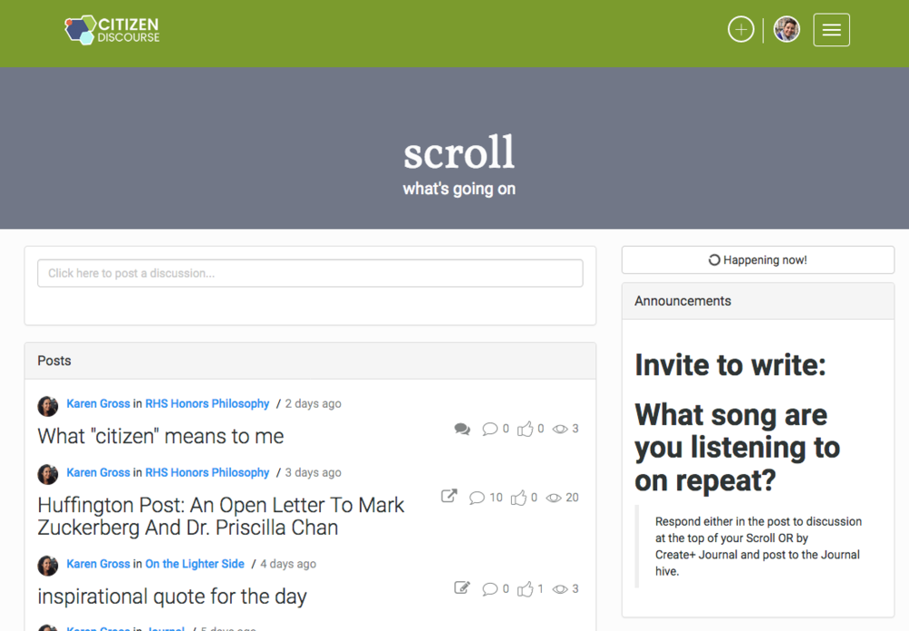 The Scroll is what members see upon logging in, and contains a feed of recent activity from the users' hives, as well as a daily writing prompt.