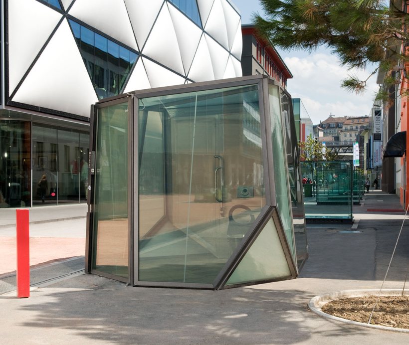 TRANSPARENT TOILET    LAUSANNE, SWITZERLAND   This transparent toilet in Switzerland is one of the more nerve-wracking of its kind. Not just a two-way glass structure, this particular design has been created with LCD Privacy Glass whereby the walls only turn opaque upon locking the door.