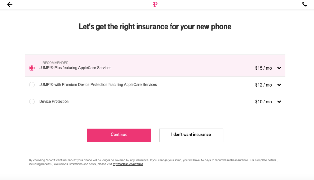Copywriting (UX), Purchase Flow, T-Mobile