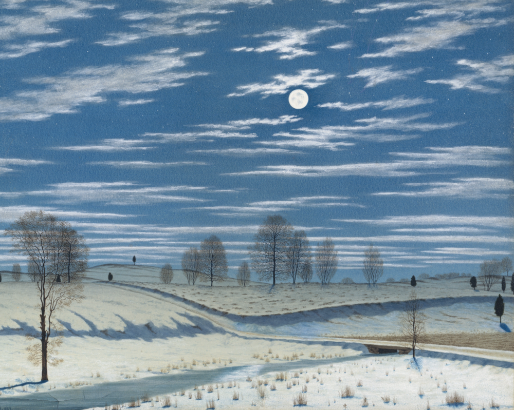 Winter Scene in Moonlight By Henry Farrer   It's so calm and so quiet. The moon shines down and lights up the snow-covered land. Can you feel it? Can you feel the deep calmness? Can you feel the deep quiet?