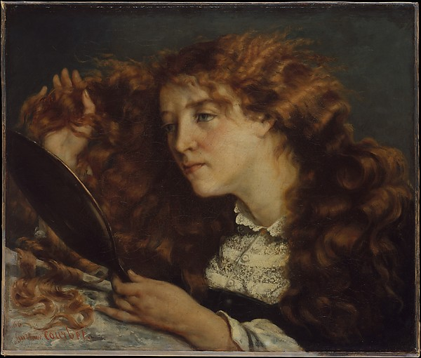 Jo, La Belle Irlandaise by Gustave Courbet   She looks in her mirror to see herself. Maybe she doesn't like what she sees. Maybe she looks in the mirror to remind herself of who she truly is.