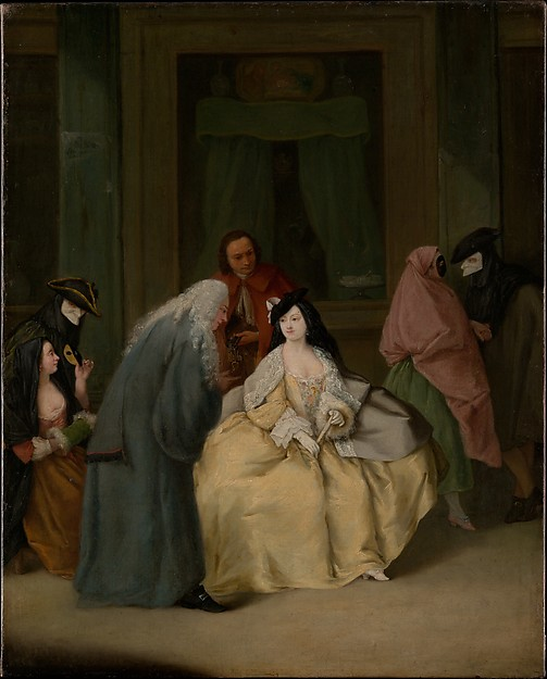 The Meeting by Pietro Longhi   A man and a woman meet for the first time. Will it be a success? Maybe. Will it be a failure? Maybe. If it is a failure, will the woman be pressured into marrying the man regardless? Maybe.
