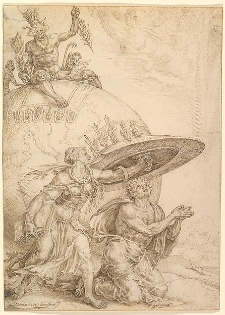 Man Protected by the Shield of Faith by Maarten van Heemskerck    The devil throws flaming arrows at the man as he prays, but because of the man's steadfast faith in God, he is protected from the burning arrows