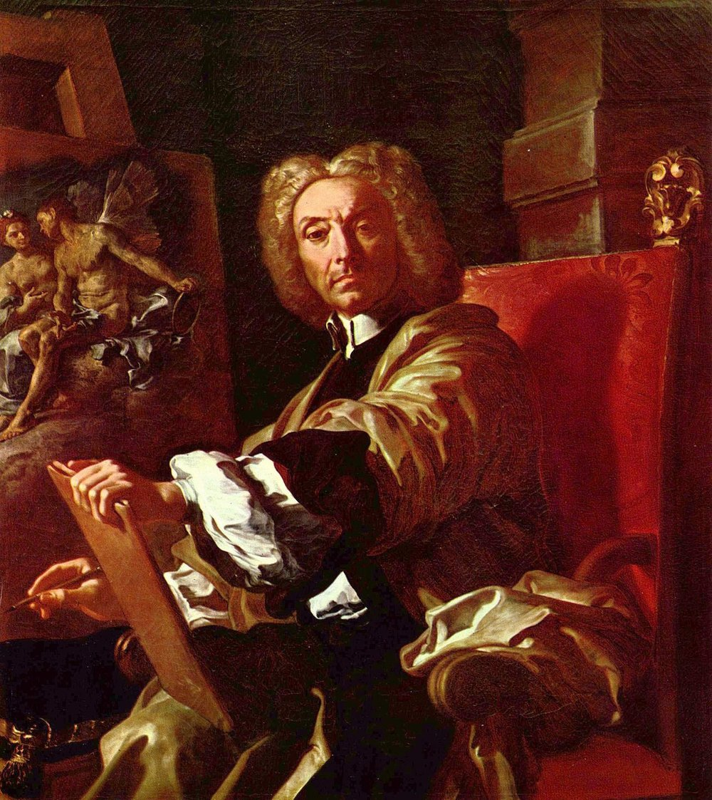 Francesco Solimena 1657 - 174   Francesco Solimena arrived in Naples in 1674, where he took up residence. He became a master at the Neapolitan school of art during the first half of the 1700s.  Solimena's inspiration came from his predecessor, Luca Giordano, whose style of painting was Baroque. Solimena used many dark shadows, clarity of lines and theatricality in his pieces.