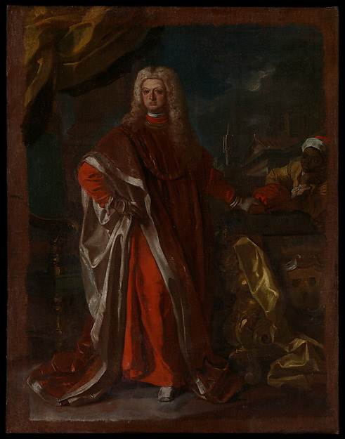 Diego Pignatelli d'Aragona and an Enslaved African Servant by   Francesco Solimena    He stands looking ready to take on the world. The man in red robes takes center stage, while his enslaved servant is off to the side in the margins. By the way the scene was captured on the canvas, it seems that the man in red robes is much more relevant than the servant.