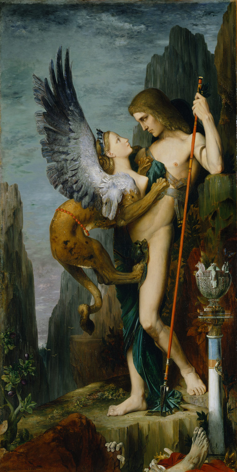 Oedipus and the Sphinx by Gustave Moreau    They're drawn to each other. Is it lust or is it a deep romance?