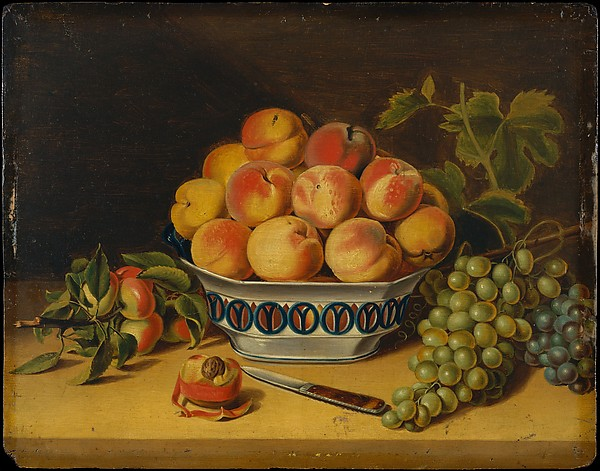 Still Life: Peaches and Grapes by John A. Woodside    There's such great detail in the piece, which makes it look quite realistic. It looks as though someone already dug into the bowl of peaches. It's okay to help yourself. Just leave some for others.