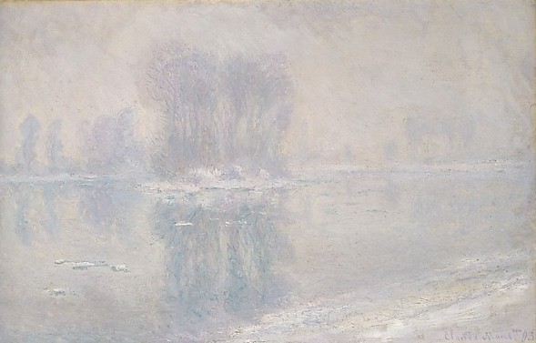 Ice Floes by Claude Monet   It's cold and yet the river water is colder. Look at how the river pushes the ice and snow chunks along.