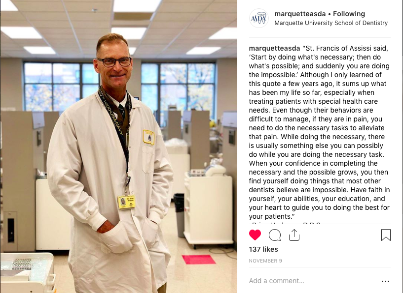Humans of MUSoD Instagram post featuring a faculty member.